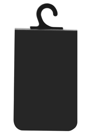 Blank Black Cardboard Sale Tag Empty Price Label Badge Background, Vertical Isolated Macro Closeup Copy Space, Large Detailed Stock Photo