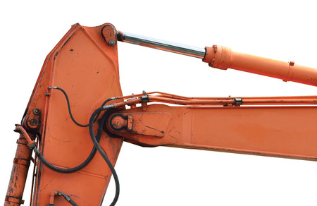 Old Generic Excavator Dipper Boom Bucket Ram Horizontal Closeup, Isolated Aged Weathered Orange Yellow Details, Backhoe Dozer Hydraulics Hoses, Links, Pistons, Bolts, Large Detailed Stock Photo