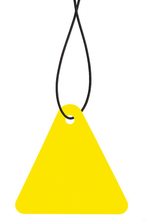 Blank Yellow Cardboard Sale Tag And String, Empty Price Label Triangle Badge Background, Vertical Hanging Isolated Macro Closeup, Large Detailed Triangular Copy Space