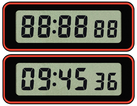 Digital lcd stopwatch timer typeface template, isolated seven segment black arabic numerals, binary digit countdown concept, electronic alarm watch time digits figures metaphor macro closeup, large detailed studio shot Reklamní fotografie