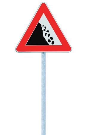 Falling rocks risk caution road sign on pole post, large detailed isolated vertical roadside stones traffic warning signage macro closeup, rock slide fall danger possible ahead, red frame triangle signpost detail