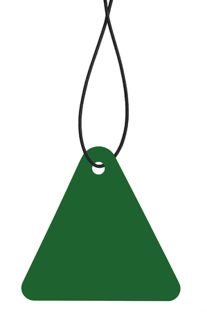 Blank Dark Green Cardboard Sale Tag And String, Empty Price Label Triangle Badge Background, Vertical Hanging Isolated Macro Closeup Copy Space, Large Detailed Triangular Label