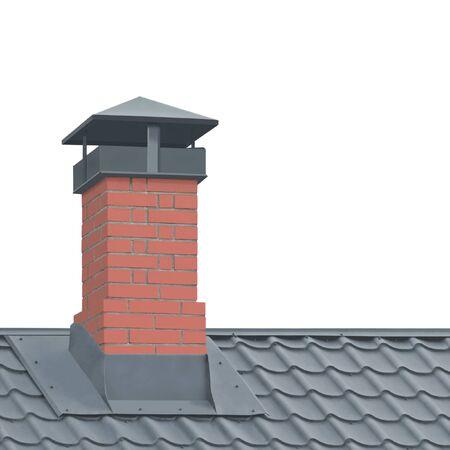 Komin z czerwonej cegły, tekstura dachu z szarej blachy stalowej, na białym tle dachówka, duże szczegółowe zbliżenie pionowe, nowoczesny dom mieszkalny dachówka szczegóły teksturowany wzór, koncepcja nieruchomości metafora nieruchomości