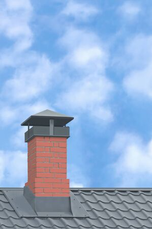 Red Brick Chimney, Grey Steel Tile Roof Texture, Gray Tiled Roofing, Large Detailed Vertical Closeup, Modern Residential House Rooftop Tiles Detail Textured Pattern, Bright Sunny Sky Summer Cloudscape Clouds, Property Concept Real Estate Metaphor
