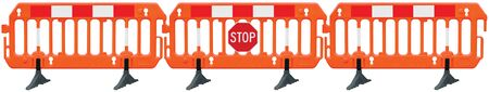 Obstacle detour barrier fence roadworks barricade, orange red and white luminescent signal, stop road sign, seamless isolated panoramic closeup, horizontal traffic safety railing, works warning signage, large detailed temporary access reroute, multiple brand new PVC blocks panorama