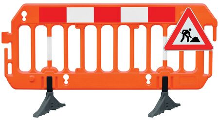 Obstacle detour barrier fence roadworks barricade, orange red and white luminescent stop signal, road works sign, seamless isolated closeup, horizontal traffic safety railing warning signage, large detailed temporary access reroute, brand new PVC block