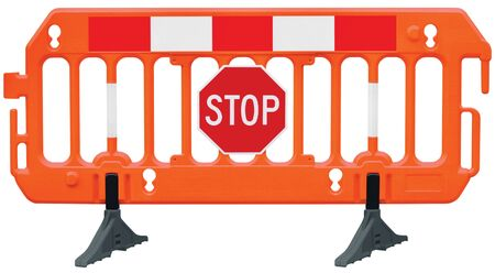 Obstacle detour barrier fence roadworks barricade, orange red and white luminescent works signal, stop road sign, seamless isolated closeup, horizontal traffic safety railing warning signage, large detailed temporary access reroute, brand new PVC plastic block