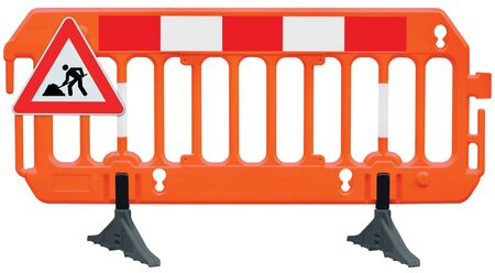 Obstacle detour barrier fence roadworks barricade, orange red and white luminescent stop signal, UK road works sign, seamless isolated closeup, horizontal traffic safety railing warning signage, large detailed temporary access reroute, brand new PVC block