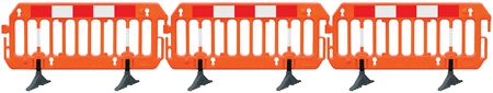 Obstacle detour road barrier fence roadworks barricade, orange red and white luminescent stop signal sign, seamless isolated panoramic closeup, horizontal traffic safety railing warning signage, large detailed temporary access reroute, multiple brand new PVC blocks panorama