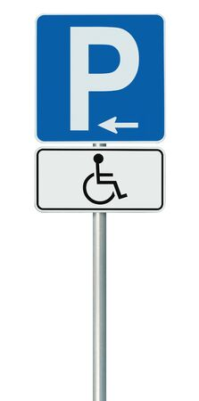 Free Handicap Disabled Parking Lot Road Sign, Isolated Handicapped Blue Badge Holders Only, White Traffic P Notice, Left Hand Arrow, Vertical Pole Post Signpost, Large Detailed Macro Closeup
