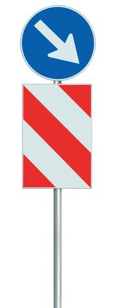 Mandatory keep right obstacle detour road sign, isolated European Union EU traffic safety barrier signage on pole post, large blue round lane route reroute roadside regulatory warning, white right hand arrow, red diagonal striped signal shield, detailed vertical closeup