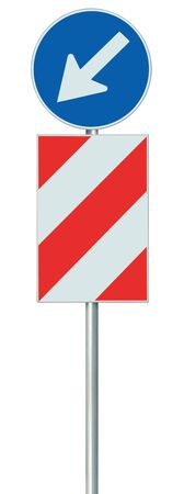 Mandatory keep left obstacle detour road sign, isolated United Kingdom UK traffic safety barrier signage on pole post, large blue round lane route reroute roadside regulatory warning, white left hand arrow, red diagonal striped signal shield, detailed vertical closeup 版權商用圖片