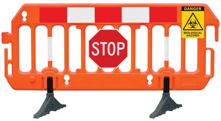 Containment cordon barricade, obstacle detour road barrier fence, yellow biological hazard danger warning and red white stop road sign, isolated closeup, traffic biohaz safety railing signal signage, COVID-19 concept, large detailed access biohazard reroute block