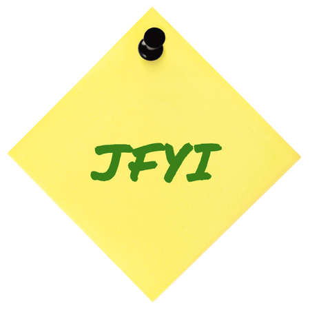 Just for your information initialism JFYI green marker written acronym text, isolated yellow to-do list sticky note