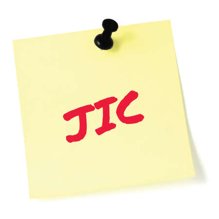 Just in case initialism JIC red marker written acronym text, isolated yellow to-do list sticky note