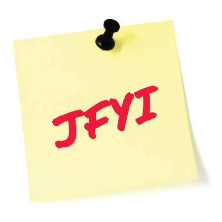 Just for your information initialism JFYI red marker written acronym text, isolated yellow to-do list sticky note Stock Photo