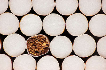 Stacked Filter Cigarettes, Macro Closeup Pattern, Smoking Addiction Concept, Large Detailed Horizontal Multiple Cigarette Stack Background