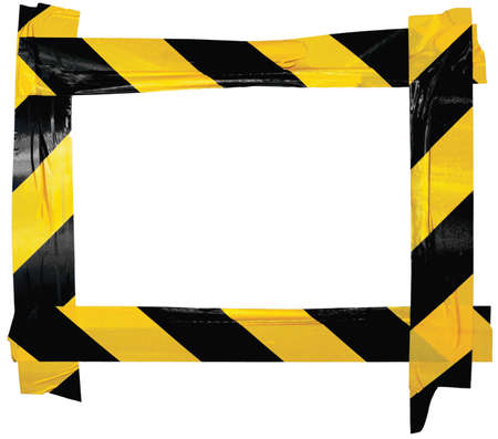 Yellow Black Caution Warning Barricade Tape Notice Sign Frame, Horizontal Adhesive Sticker Background, Diagonal Hazard Stripes Signal Safety Attention Concept, Isolated Large Detailed Closeup, Old Aged Weathered Grunge Pattern