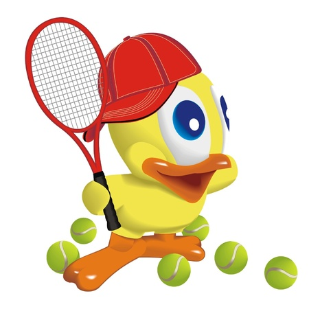 animal time: Duck_player_in_tennis Illustration