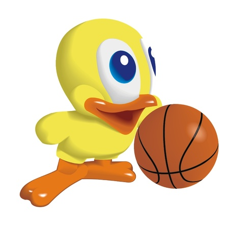 rubber ducks: Duck_with_Basketball_ball Illustration