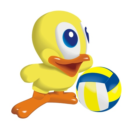 Duck_with_Volleyball_ball Vector