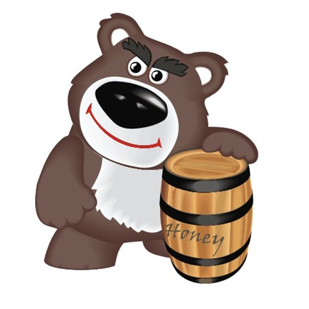 bear with barrel honey Stock Vector - 13058349