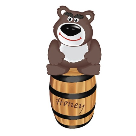 bear with barrel honey Stock Vector - 13058351
