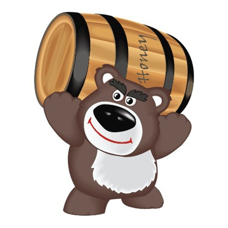 bear with barrel honey Vector