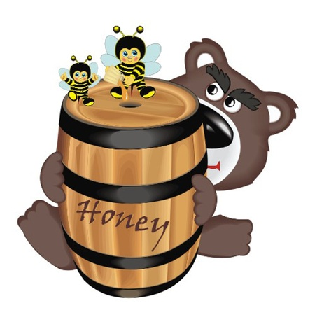 bear with barrel honey Stock Vector - 13058369