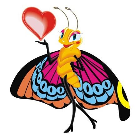 papillon avec le coeur