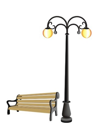 pole with a lamp and a bench