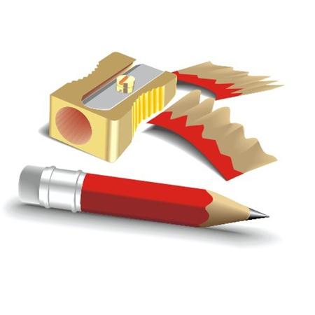 sacapuntas: sacapuntas y lápiz Vectores