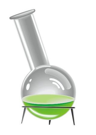 aparato de laboratorio con una solución de colorido
