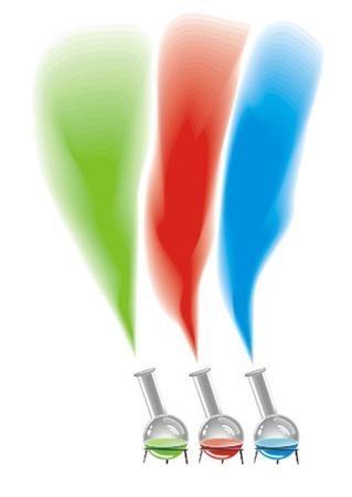 provexemplar: laboratorieutrustning med färgglada lösning Illustration