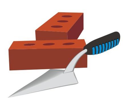 trowel and bricks Illustration