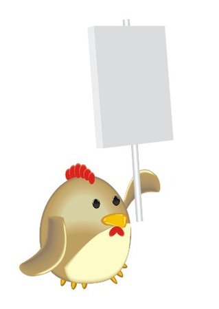 pompous: cock with poster Illustration