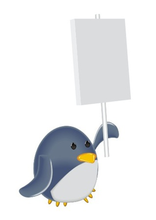 penguin with poster Vector