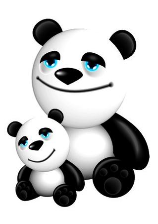 panda with baby Vector