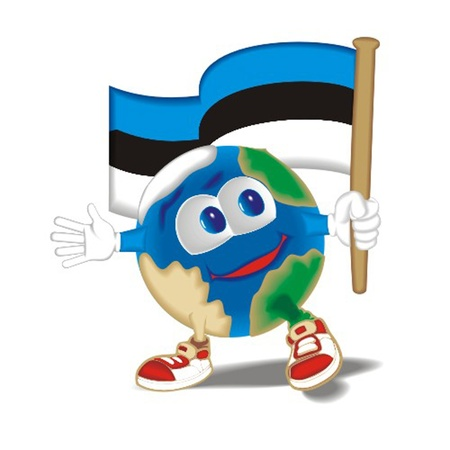 zoom earth: Planet_with_flag_Estonia Illustration