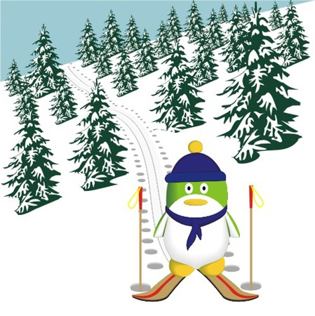 penguin_on_a_ski Illustration
