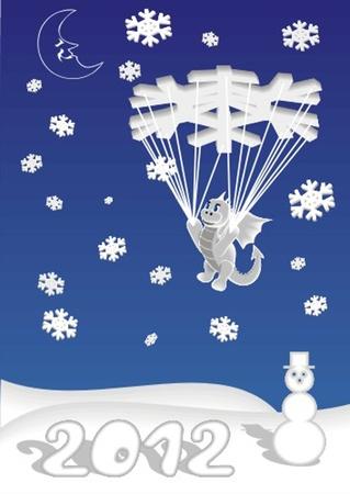 dragon_on_parachute Vector