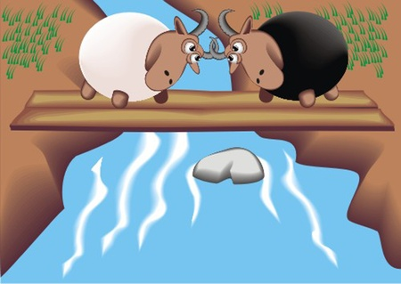 mohair: Two_rams_on_the_bridge Illustration