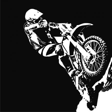 silueta ciclista: motocicleta Vectores