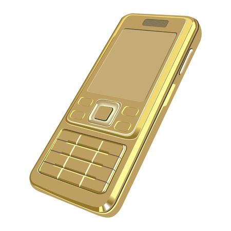 mobile phone icon: gold telephon