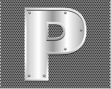 metal letter P Stock Vector - 19796513