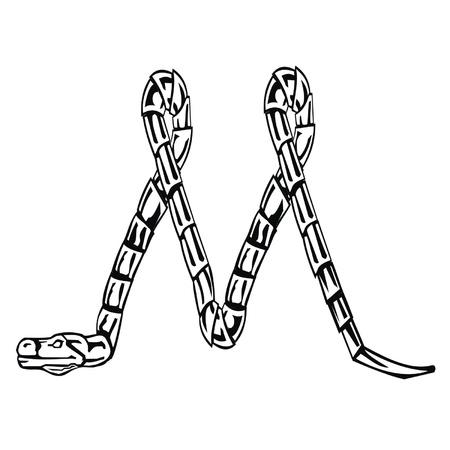 Letter snake M Stock Vector - 19876785