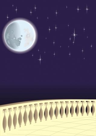 月明かりに照らされた夜  イラスト・ベクター素材