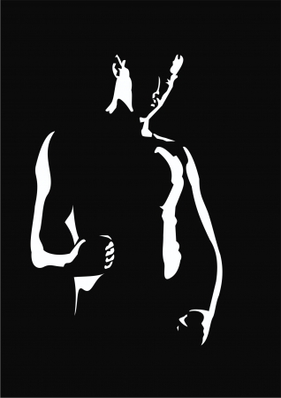 see side: silhouette of a man Illustration