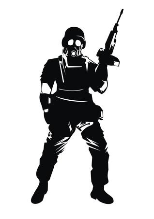 silhouette soldat: guerrier Illustration