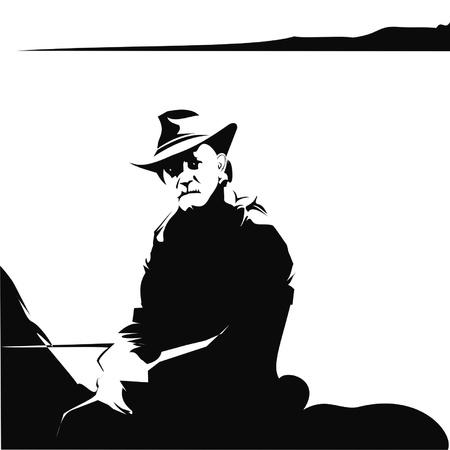 old cowboy: old cowboy Illustration